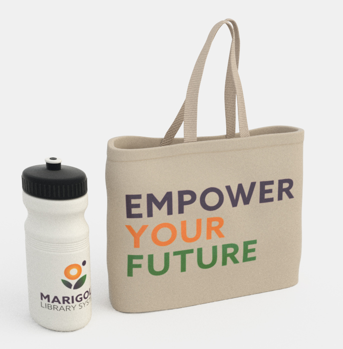 Marigold library system Bottle and Bag