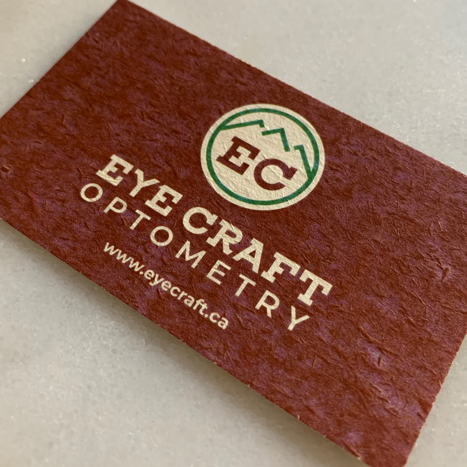 eyecraft optometry business card